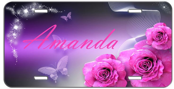 CUSTOM VANITY LICENSE PLATE PERSONLIZED PINK ROSES AND BUTTERFLIES AUTO TAG #putapiconit