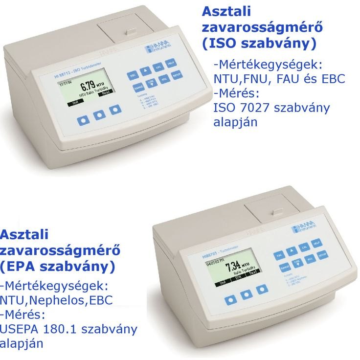 A Hanna HI88703 és a HI88713 egy-egy asztali zavarosságmérő műszer. A különbség közöttük, hogy a HI88703 az USEPA 180.1 szabvány alapján hajtja végre a mérést, míg a HI88713 az ISO 7027 szabvány alapján mér.