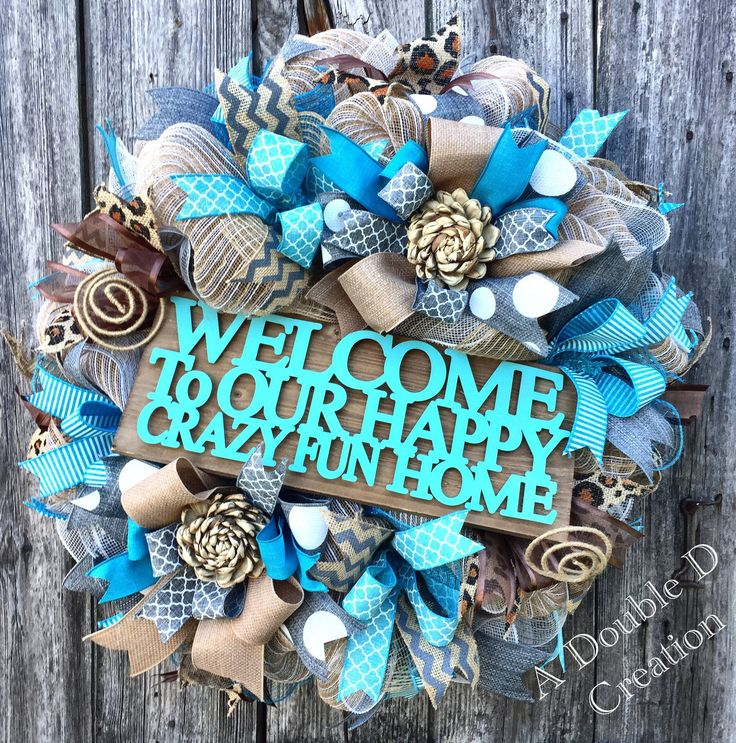 Welcome Wreath, Family Wreath, Everyday Wreath, Front Door Decor, Summer Wreath, Summer Decor, Burlap Deco Mesh Wreath by ADoubleDCreation on Etsy