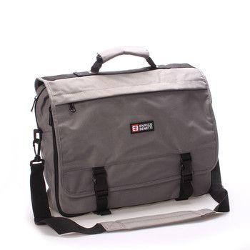 #BESTSELLER  Šedá pánska taška do práce Enrico Benetti. Ideální prostorná a praktická taška do zaměstnání z pevného textilního materiálu. Uvnitř – na zip, zepředu jsou dvě kapsy se zipem a tři bez zipu. Na klopě a zezadu další kapsy. Součástí tašky je nastavitelný popruh. Objem tašky lze zvětšit rozepnutím zipu. Do tašky se vleze notebook do rozměru 40 x 29 cm.