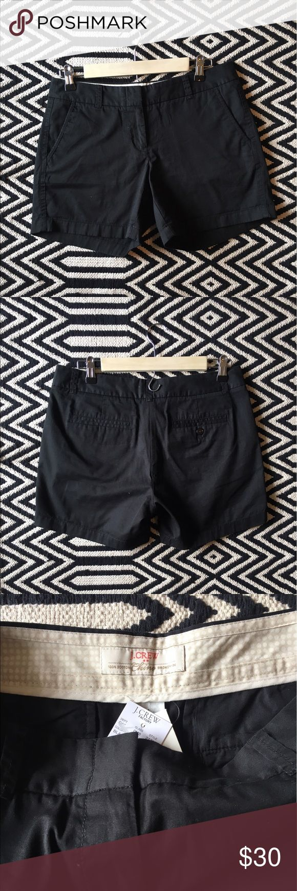 J. Crew black chino broken-in shorts NWT. J. Crew factory chino broken-in shorts. Color: black. Size 4. 100% cotton. Measurements pictured. J. Crew Factory Shorts