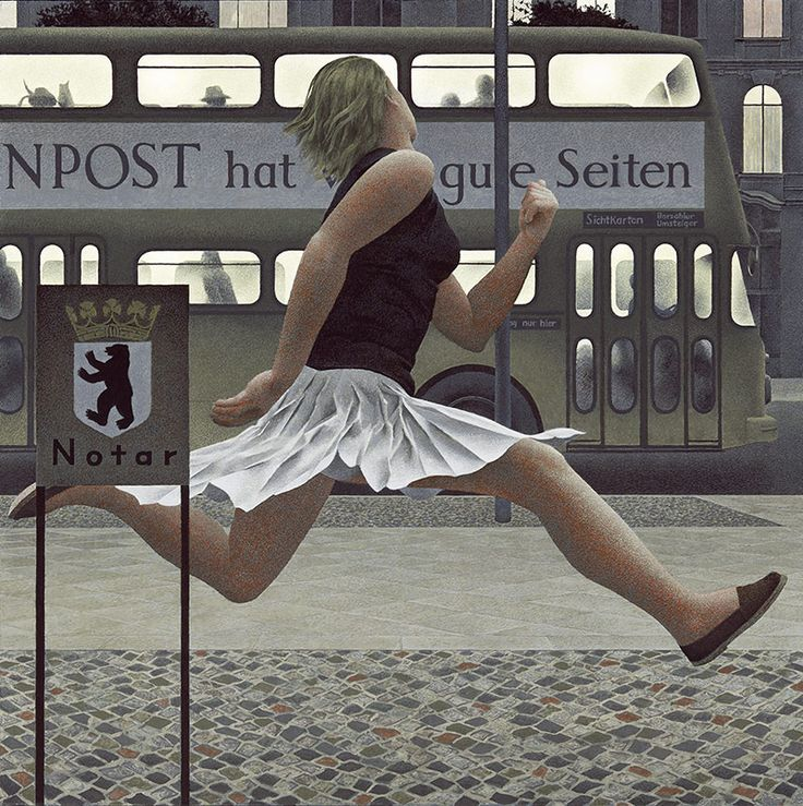 'Berlin Bus' (1978) by Canadian artist Alex Colville (1920-2013). Acrylic on hardboard, 54.2 x 54.2 cm. via welcome to colville
