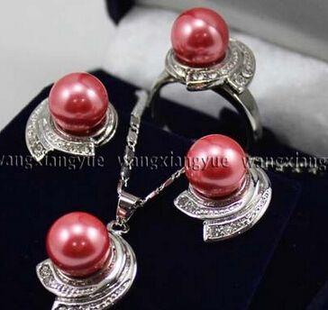 Розовые розы юг морские раковины жемчужные серьги кольцо и ожерелья комплект ааа стиль > прекрасный женская свадебные украшения довольно