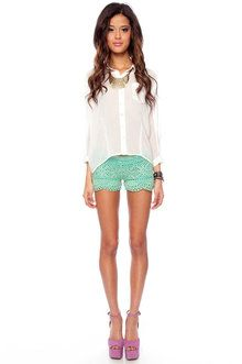 Just stop.: Spring Color, Mint Shorts, Pocket Buttons, Crochet Shorts, Mint Lace, Teal Shorts, Purple Heels, White Blouses, Lace Shorts