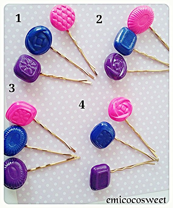Cute Candy bobby pins hair clip set Food hair by emicocosweet