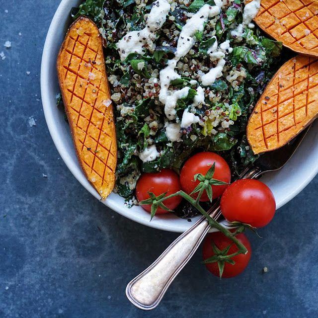Vanløse blues.....: Spinatsalat med søde kartofler og cashewdressing (...