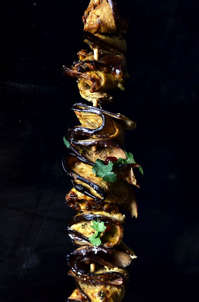 Pomegranate Molasses Aubergine Skewers   The Hungry Herbivores