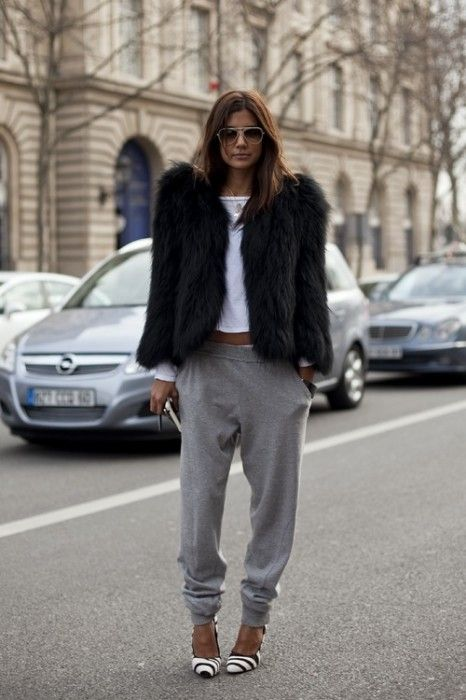 sarah starr - love the mix of lounge wear w/ heels + chic fur