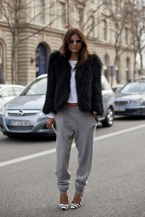 Fur and sweats.