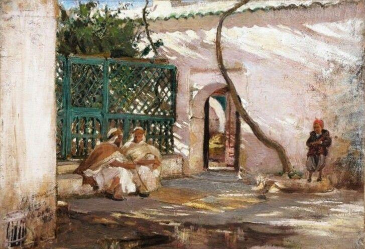 Algérie  -  Peintre American  Frederick Arthur Bridgman(1847-1928), huile sur toile 1886  , Titre :  Le patio  ,   Alger