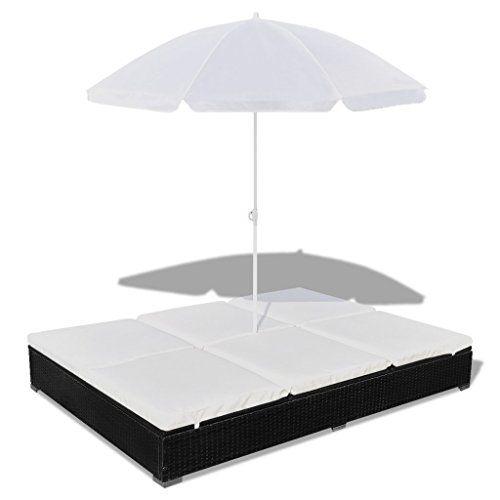 Anself Rattan Sun Lounger with Umbrella, Black