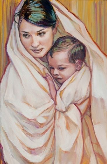 """""""Therefore the Lord himself will give you a sign: The virgin will conceive and give birth to a son, and will call him Immanuel."""" - Isaiah 7:14 Art: Rose Datoc Dall"""