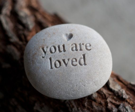 You are loved - engraved message beach pebble by sjEngraving on Etsy, $16.00