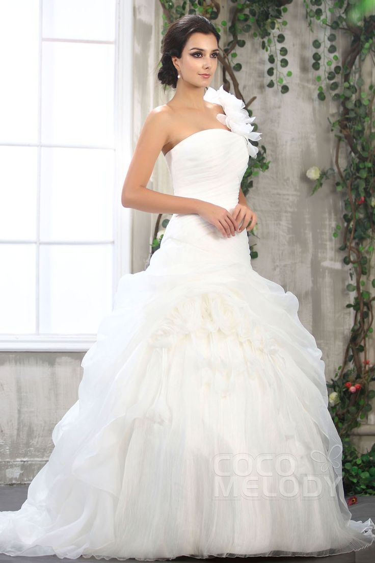 Awesome Romantic A Line One Shoulder Court Train Organza Wedding Dress CWLTB