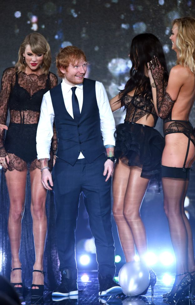 But it was hard for him to concentrate surrounded by so much beauty. | Ed Sheeran's Face Was The Best Thing At The Victoria's Secret Show
