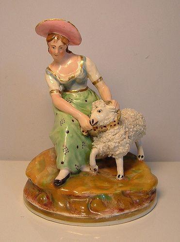 Staffordshire porcelain figure, Dudson sheep shearer |