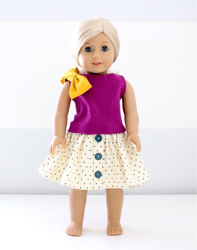 Cute fushia pink shirt with polka-dot Skirt and cute dandelion yellow bow on shoulder
