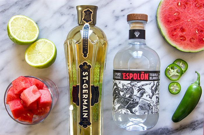 Watermelon tequila cocktail recipe ingredients with Espolon and St Germain: Rent Check from Nordstrom. Photo by Jeff Powell