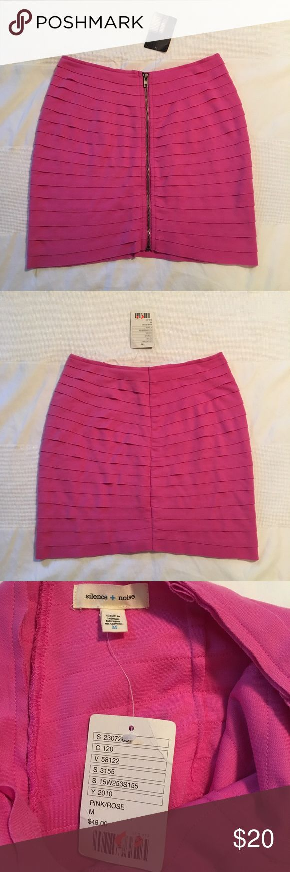 NEW Silence + Noise Zipper Front Mini Skirt Brand new with tag! Size M. Silence + Noise from Urban Outfitters. Cute layers bodycon mini skirt with zipper front. Tag says Pink/Rose, but it is a pretty pinkish almost purple color. PLEASE NOTE: The skirt appears brighter because of the lighting. It is not quite as bright in person. Gorgeous color! Skirt is fully lined. Model picture shows how it looks on in a different color :) Originally $48, but purchased on sale for $20-25. Length will vary…