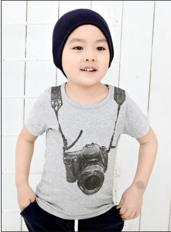 Summer Cotton baby t-shirts Boy Kids Camera Short Sleeve Cartoon Tops Children O-neck T Shirt Casual Gray Tees Clothes 1-6Y