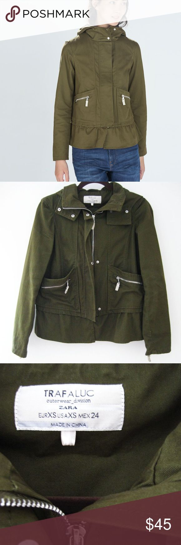 Zara TRF Green Canvas Utility Ruffle Jacket XS Zara TRF green canvas jacket featuring pocket zips, ruffle hem and hoodie. Excellent condition-worn 3x. Smoke/pet-free home. Feel free to ask questions! Credit Zara online image for 1st & last photo. Zara Jackets & Coats Utility Jackets