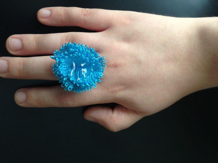 Handmade blue / turquaise needle lace ring / iğne oyası yüzük by HulyasLetsWear on Etsy https://www.etsy.com/listing/466469371/handmade-blue-turquaise-needle-lace-ring