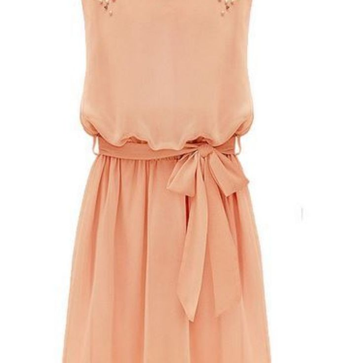 Elegant Beaded Chiffon Pleated Dress With Belt