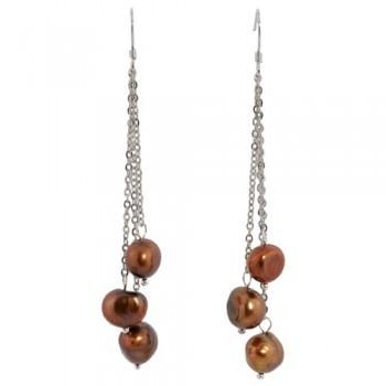 boucles d'oreilles de perles de culture d'eau douce couleur chocolat