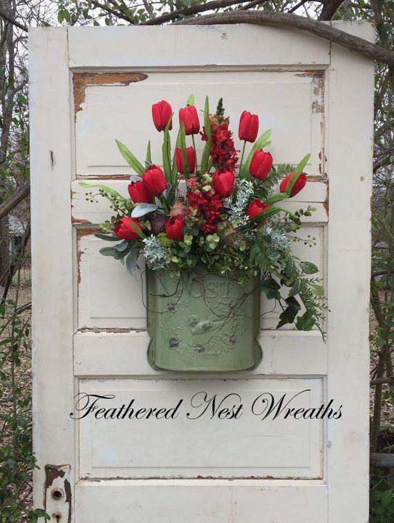 Spring Door Wreath Tulip Wreath Spring by FeatheredNestWreaths