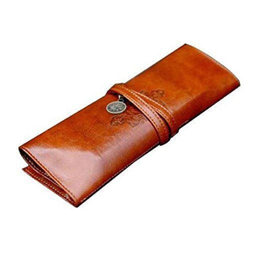 2016 Hot FEITONG Vintage Style Rollup Pencil Case, Pencil Bag, Pen Pocket - PU Leather (Brown)