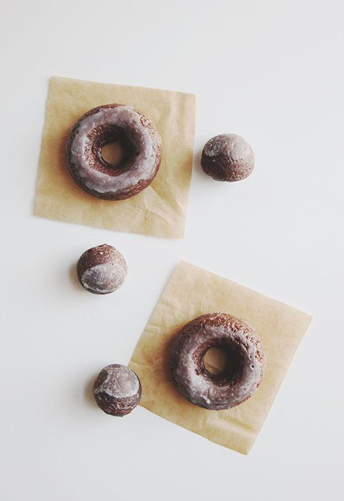 baked glazed chocolate doughnuts / the faux martha