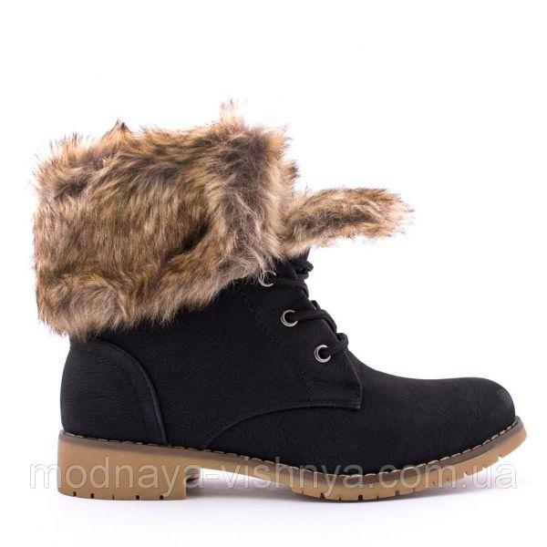 Обувь Женские ботинки с мехом на низком ходу