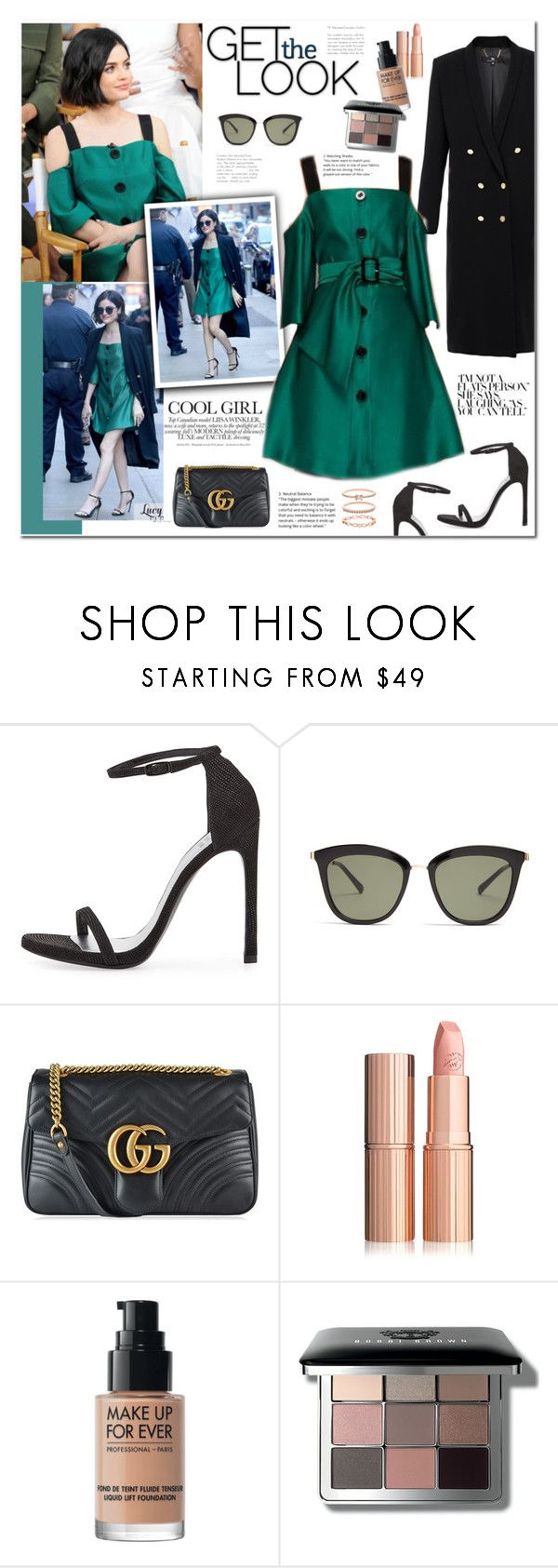 """""""Lucy Hale"""" by mery90 ❤ liked on Polyvore featuring Stuart Weitzman, Le Specs, Gucci, MAKE UP FOR EVER, Bobbi Brown Cosmetics, Accessorize and GetTheLook"""