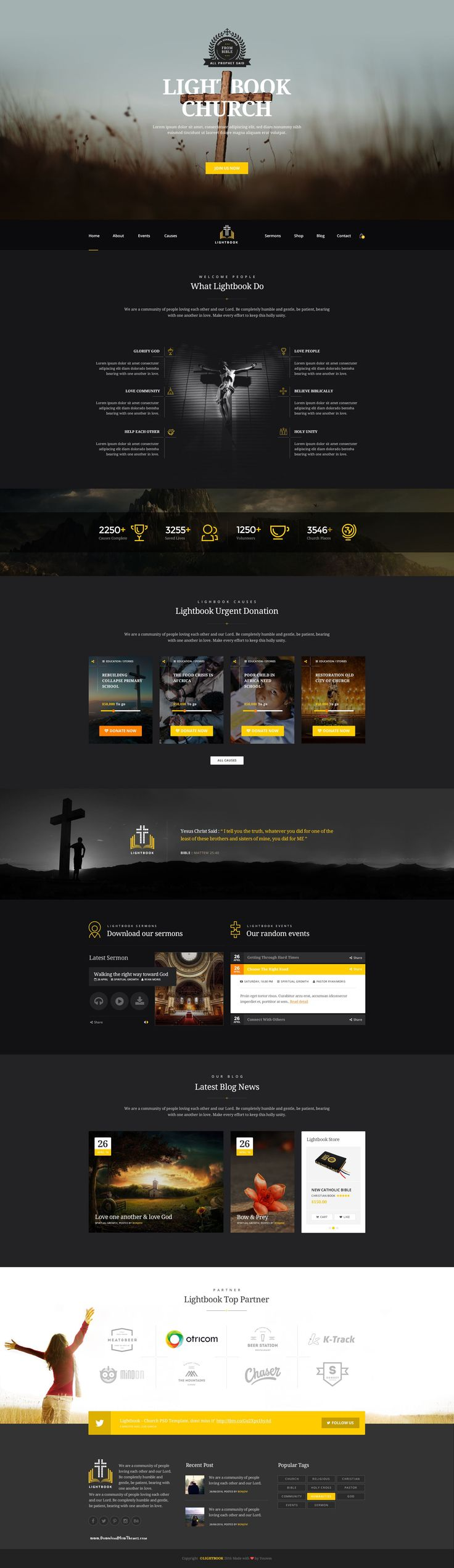 LightBook Church PSD template With the complete package you have a wide range of possibilities to design almost any kind of personal and professional web layouts. #charity #Church #website