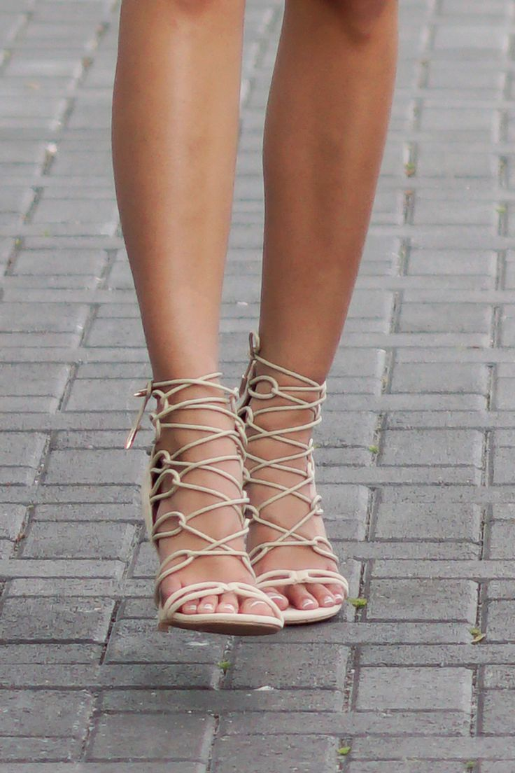 Nude Lace High Heels