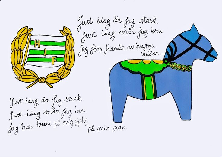 A4 illustration, titled Hammarby Fotboll Dalahäst (literally Hammarby FC Dala Horse). This is part of a series of Allsvenskan (Swedish first division) inspired illustrations, which combine three common recurring elements: a hand-drawn Dala horse (in their respective football team's colours), a hand-drawn version of the team's club crest, and a handwritten verse taken from each team's song). Materials used: promarkers and fine liner pens. #dalahorse #dalahäst #illustration #drawing…