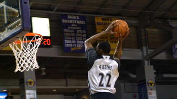 """The young high-flying Minnesota Timberwolves lead by Andrew Wiggins, Zach LaVine, Anthony Bennett and Shabazz Muhammad deliver """"Dunks After Dark ."""
