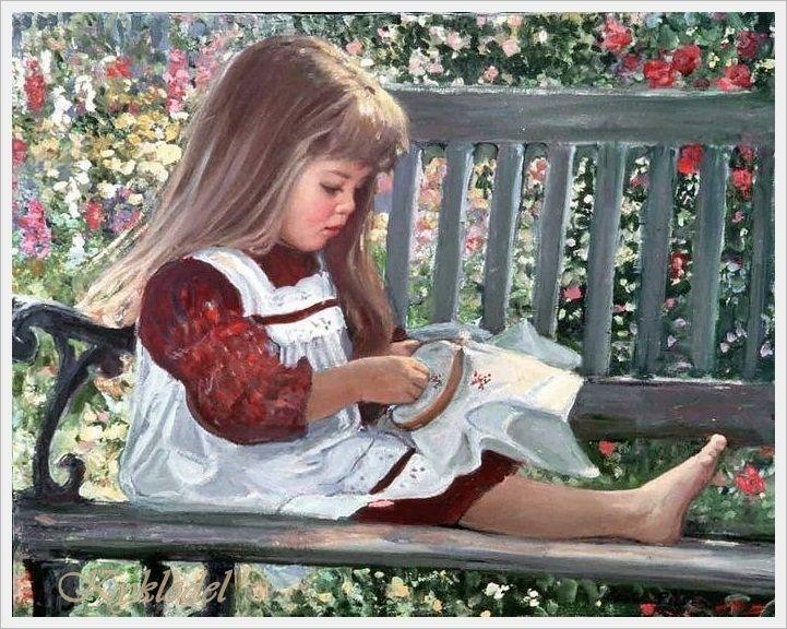 Картинка девочка занимается рукоделием