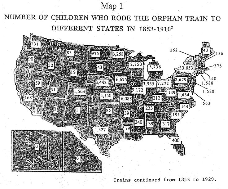 Map of United States showing number of orphan train riders in 1853-1910.