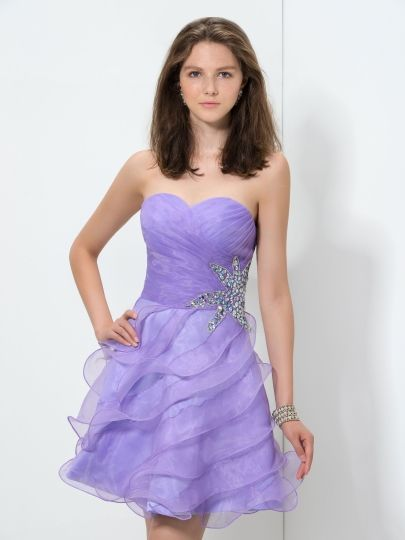 Sweetheart A-Line Ruched Ruffles Beaded Homecoming Dress