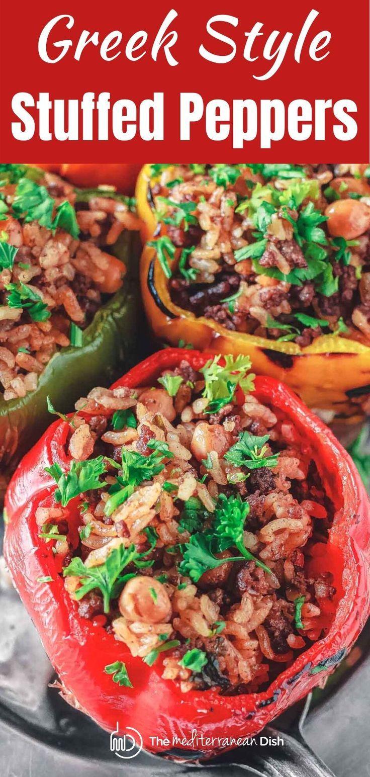 Greek Style Stuffed Peppers In 2020 Stuffed Peppers Mediterranean Recipes Easy Mediterranean Recipes