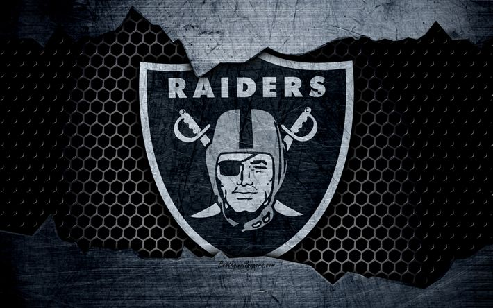 Download wallpapers Oakland Raiders, 4k, logo, NFL, american football, NFC, USA, grunge, metal texture, West Division