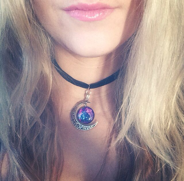 Handmade Choker with Silver Crescent Moon and Pink Glass Galaxy Pendant