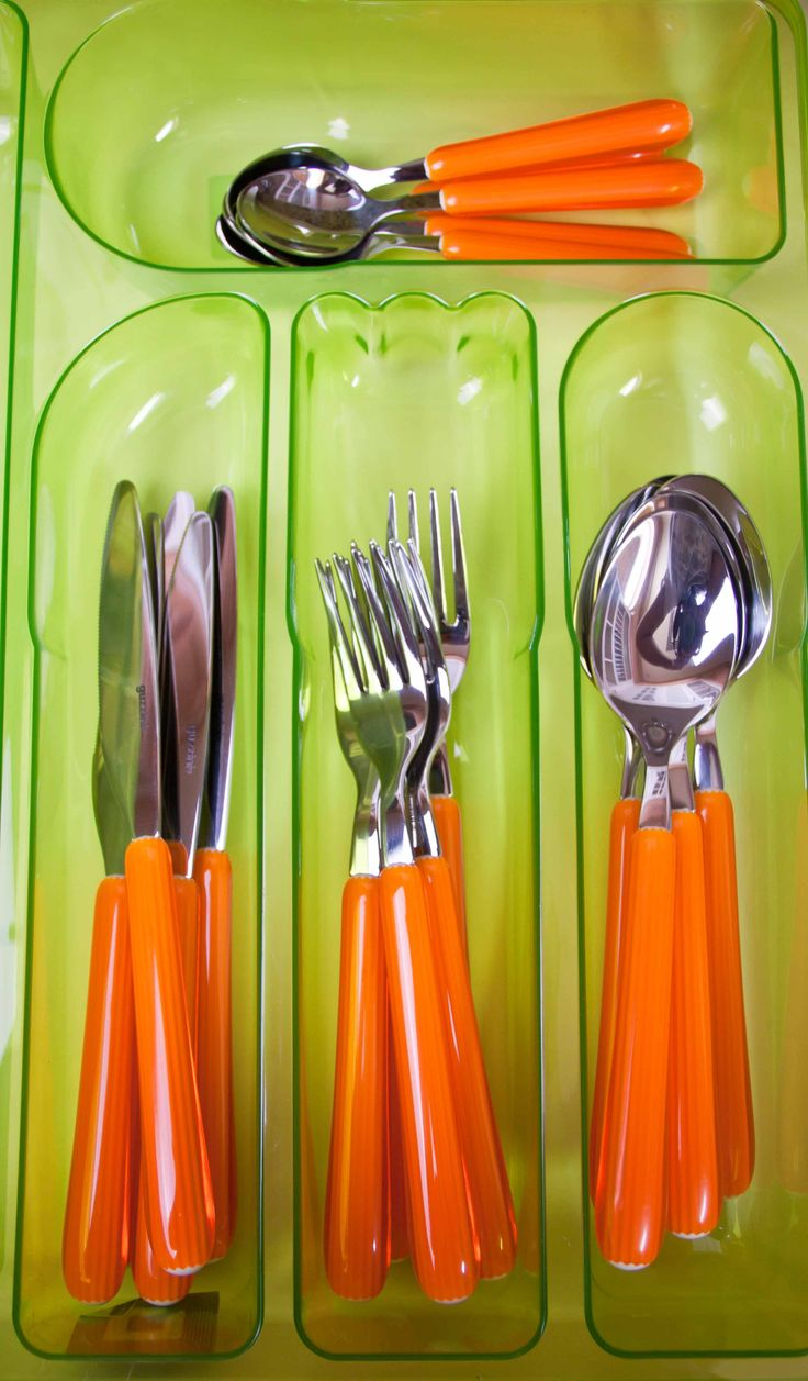 #Cutlery Tray from #Guzzini made from environmentally friendly plastic and is good for easy storage. Fits perfectly into your #drawers and organizes your #kitchen #utensils. Available in Orange and Green and costs BD 4.300. Follow us at @Ashrafs Bahrain to find everything you need for your new home. Like us on Facebook at facebook.com/ashrafsbahrain #organization