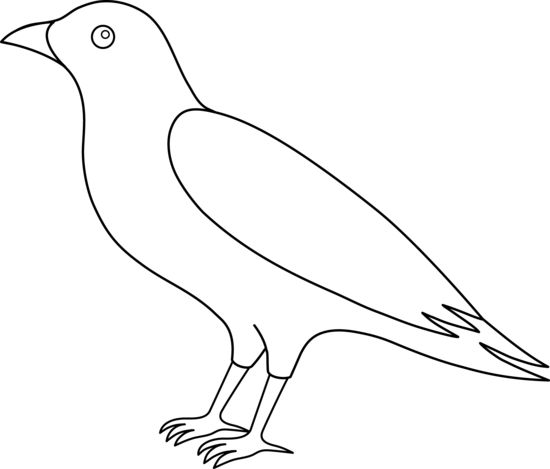 Free Crow Patterns   Colorable Crow Line Art - Free Clip Art