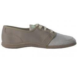 Dutt Basto Lin Taupe/Ecru. Chaussure fabriquée en France. Magnifique chaussure légère et très agréable à porter.    Modèle en Lin, semelle en résine végétale composée de farine de maïs et de copeaux de bois.