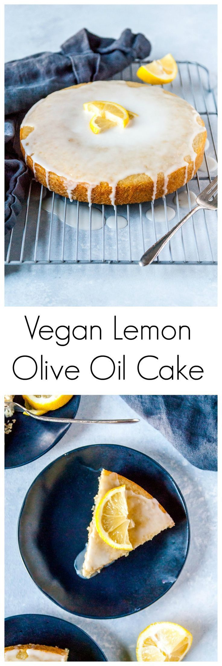 A perfectly sweet and tart vegan lemon cake made with olive oil! Frosted with a powdered sugar glaze, this cake is bound to be your new favorite lemon dessert.