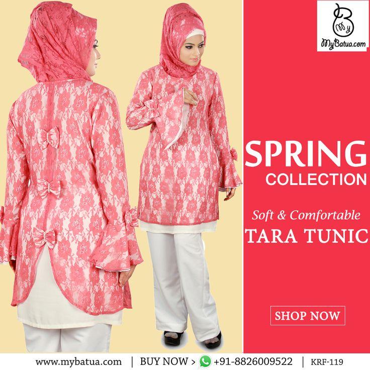 Tara Tunic | MyBatua  Available in sizes XS to 7XL   Buy Link: http://bit.ly/2mT99uo Whatsapp: +91-8826009522 (#worldwide #shipping)    #tunic #online #hijabdress #sweetpink #designertunic #nettunic #dubaifashion #emiratesstreet #muslimahgirl #arabfashion #fashionarabian