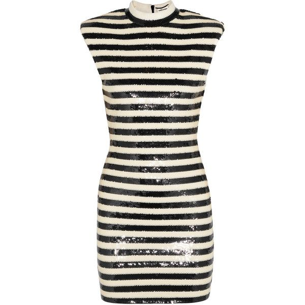 Saint Laurent Striped sequined satin mini dress (€3.565) ❤ liked on Polyvore featuring dresses, white, short dresses, embroidery dress, white embroidered dress, white sequin dress and white mini dress