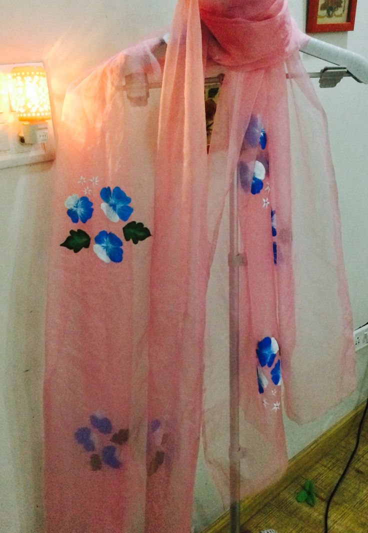 Hand painted pink duppatta